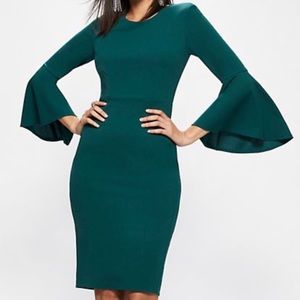 NWT Bell-Sleeve Sheath Dress Color: Parker Green